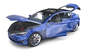 Tesla Model S 2016 Blue with interior and chassis 3D Model