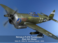 Republic P-47D Thunderbolt - Raid Hot Mama 3D Model