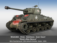 M4A3E8 Sherman - Easy Eight - Rices Red Devils 3D Model