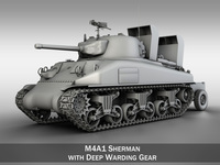 M4A1 Sherman with Deep wading gear 3D Model