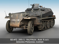 SD.KFZ 250/1 - Half-track troop carrier 3D Model