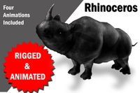 Rhino Rigged and Animated 3D Model