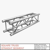 Square Truss Straight Segment 21 3D Model