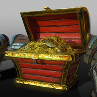 3D Treasure Wooden Chests - Game Ready 3D Model